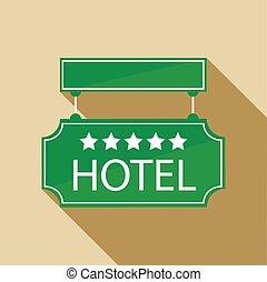 平ら, スタイル, ホテル, 印, 5, 星, アイコン