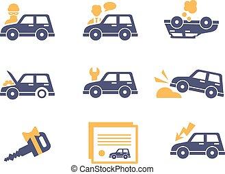 平ら, スタイル, 保険, 自動車, アイコン