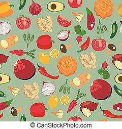 平ら, スタイル, 健康, パターン, 野菜, 食品。, 背景, 新たに