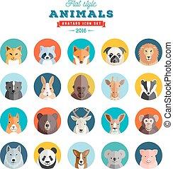 平ら, スタイル, 動物, 20, set., icons., ベクトル, avatar