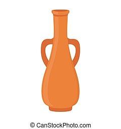 平ら, スタイル, 古代, ジャー, つぼ, amphora., 陶器, 作られた, 漫画