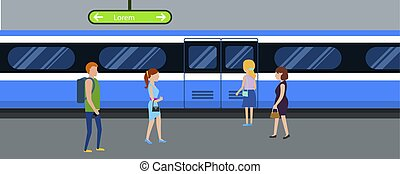 平ら, スタイル, 地下鉄, 列車, 横, 旗
