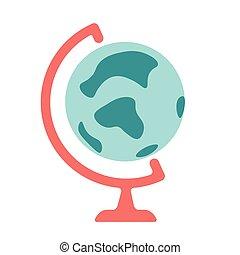 平ら, スタイル, 地球, ベクトル, 地球, アイコン