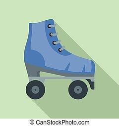 平ら, スタイル, 型, スケート, アイコン, ローラー