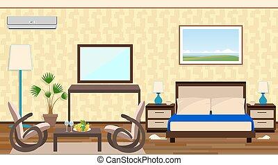 平ら, スタイル, 家具, 部屋, ホテル, 残り, 地域, 装飾, 内部