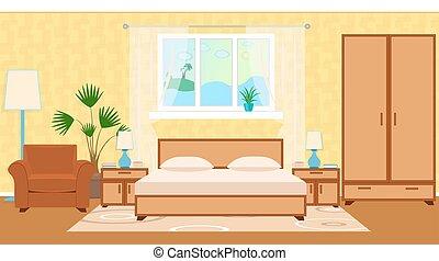 平ら, スタイル, 家具, 部屋, 光景, otel, houseplant, 海洋, 窓, 内部