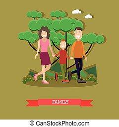 平ら, スタイル, 家族, イラスト, ベクトル, 幸せ