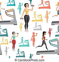 平ら, スタイル, 操業, shall, 巻き込まれた, 若い, seamless, 織物, sports., リフト, 彼ら, パターン, 女性, 踏み車, 漫画, weights.