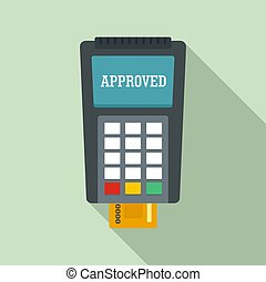 平ら, スタイル, 支払い, クレジット, アイコン, 公認, カード