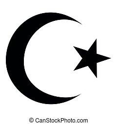 平ら, スタイル, 星, 色, コーナー, シンボル, イラスト, 単純である, 5, 三日月, 黒, イスラム教,...