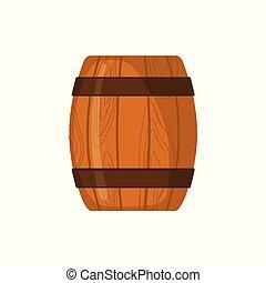 平ら, スタイル, 木製である, 隔離された, white., 樽, アイコン