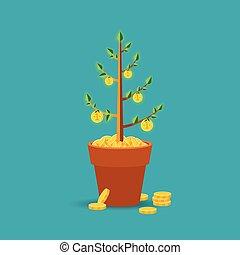 平ら, スタイル, 概念, お金の 木, ベクトル