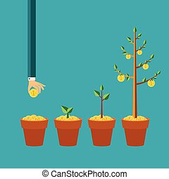 平ら, スタイル, 概念, お金の 木, ベクトル, 成長