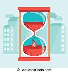 平ら, スタイル, 概念, お金, -, ベクトル, 時間