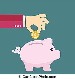 平ら, スタイル, 概念, お金, -, 節約, ベクトル, 貯金箱
