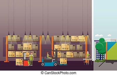 平ら, スタイル, 概念, サービス, banner., イラスト, 出産, ベクトル, デザイン, ロジスティックである, interior., 倉庫