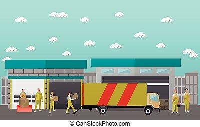 平ら, スタイル, 概念, サービス, banner., イラスト, 出産, ベクトル, デザイン, ロジスティックである, warehouse.