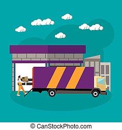 平ら, スタイル, 概念, サービス, banner., イラスト, 出産, ベクトル, トラック, 倉庫, ロジスティックである, デザイン, shipping.