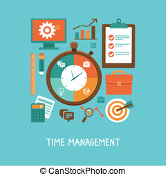 平ら, スタイル, 概念, -, ベクトル, 時間管理