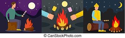 平ら, スタイル, 概念, マシュマロ, セット, 旗, たき火