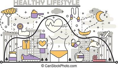 平ら, スタイル, 概念, ライフスタイル, 線である, 健康, イラスト, ベクトル