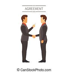 平ら, スタイル, 概念, 取引, 現代, 合意, ベクトル, ビジネスマン, ∥あるいは∥