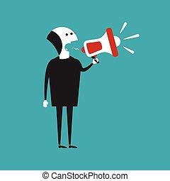 平ら, スタイル, 概念, 叫ぶこと, ベクトル, ビジネスマン, メガホン, 漫画