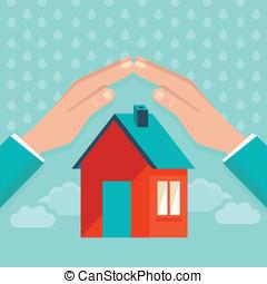平ら, スタイル, 概念, 家, ベクトル, 保険
