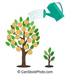 平ら, スタイル, 概念, 木, コイン, -, 植物, ベクトル, 緑の金