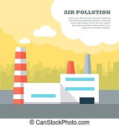 平ら, スタイル, 概念, 空気, ベクトル, 汚染, design.