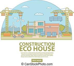 平ら, スタイル, 概念, 線である, eco, 家, イラスト, ベクトル, 建設