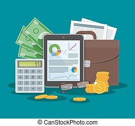 平ら, スタイル, 概念, 財政, 金融, ビジネス, charts., タブレット, イラスト, ベクトル, グラフ, design.