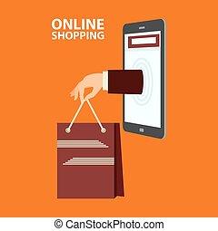 平ら, スタイル, 概念, 買い物, インターネット