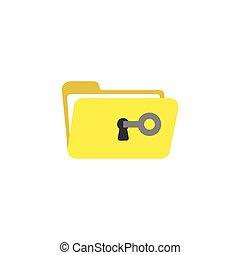平ら, スタイル, 概念, 錠を開けなさい, ベクトル, デザイン, キー, 鍵穴, フォルダー, 開いた,...