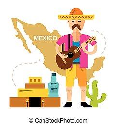 平ら, スタイル, 概念, illustration., カラフルである, mexico., 旅行, ベクトル, 漫画