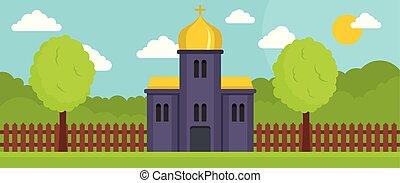 平ら, スタイル, 正統, 旗, 教会