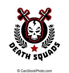 平ら, スタイル, 死, illustration., 頭骨, squad., 剣, wreath., cross., ベクトル, ロゴ