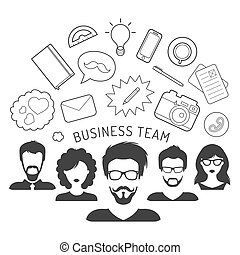 平ら, スタイル, 管理, ビジネス 実例, ベクトル, チーム