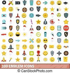 平ら, スタイル, 紋章, アイコン, セット, 100