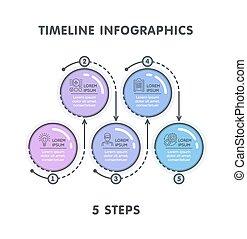 平ら, スタイル, 線である, タイムライン, 現代, infographic, ステップ, 5, template.