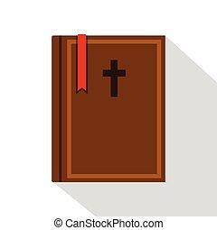 平ら, スタイル, 聖書, アイコン