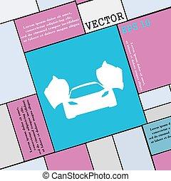 平ら, スタイル, 自動車, 印。, 現代, スポーツ, ベクトル, アイコン, あなたの, design.