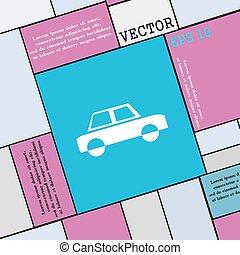 平ら, スタイル, 自動車, 印。, 現代, ベクトル, アイコン, あなたの, design.