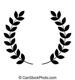 平ら, スタイル, 色, シンボル, 勝者, イラスト, ベクトル, 花輪, 勝利, ブランチ, 月桂樹, 黒, イメージ, アイコン