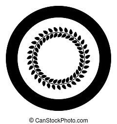 平ら, スタイル, 色, 葉, 花輪, イラスト, ラウンド, 花, ベクトル, 黒, フレーム, 円, ボーダー, イメージ, アイコン