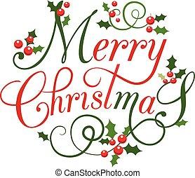 平ら, スタイル, 葉, デザイン, ヒイラギの果実, クリスマスカード