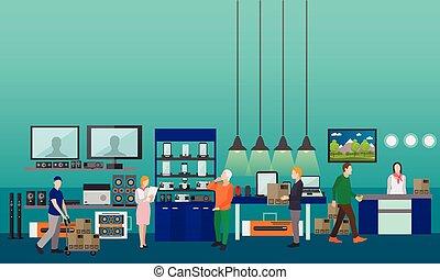 平ら, スタイル, 要素, 買い物, illustration., 人々, mall., ベクトル, デザイン, 内部, エレクトロニクス, 消費者, 旗, 店