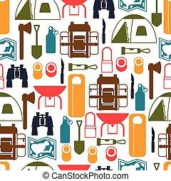 平ら, スタイル, 観光客, キャンプ, パターン, seamless, 装置