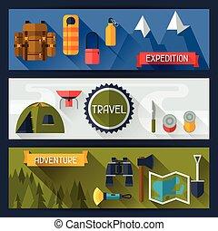 平ら, スタイル, 観光客, キャンプ 装置, 旗