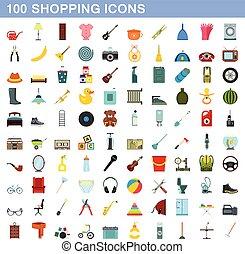 平ら, スタイル, 買い物, アイコン, セット, 100